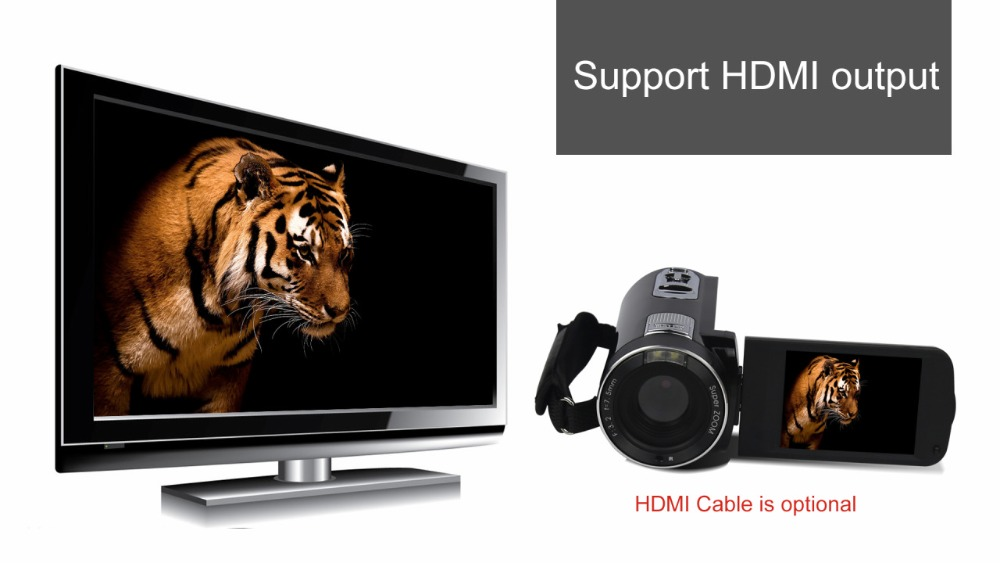 """FHD 1080P Digital Video Camera fotografica Camcorder MP 3"""" Screen External Battery Support SD Card with HDMI Output filmadora 8"""