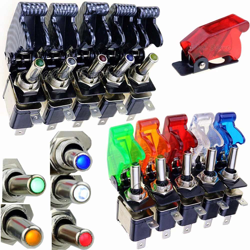 Auto Car Boat Truck Illuminated Led Toggle Switch With Safety Aircraft Flip Up Cover Guard Red Blue Green Yellow White 12V20A