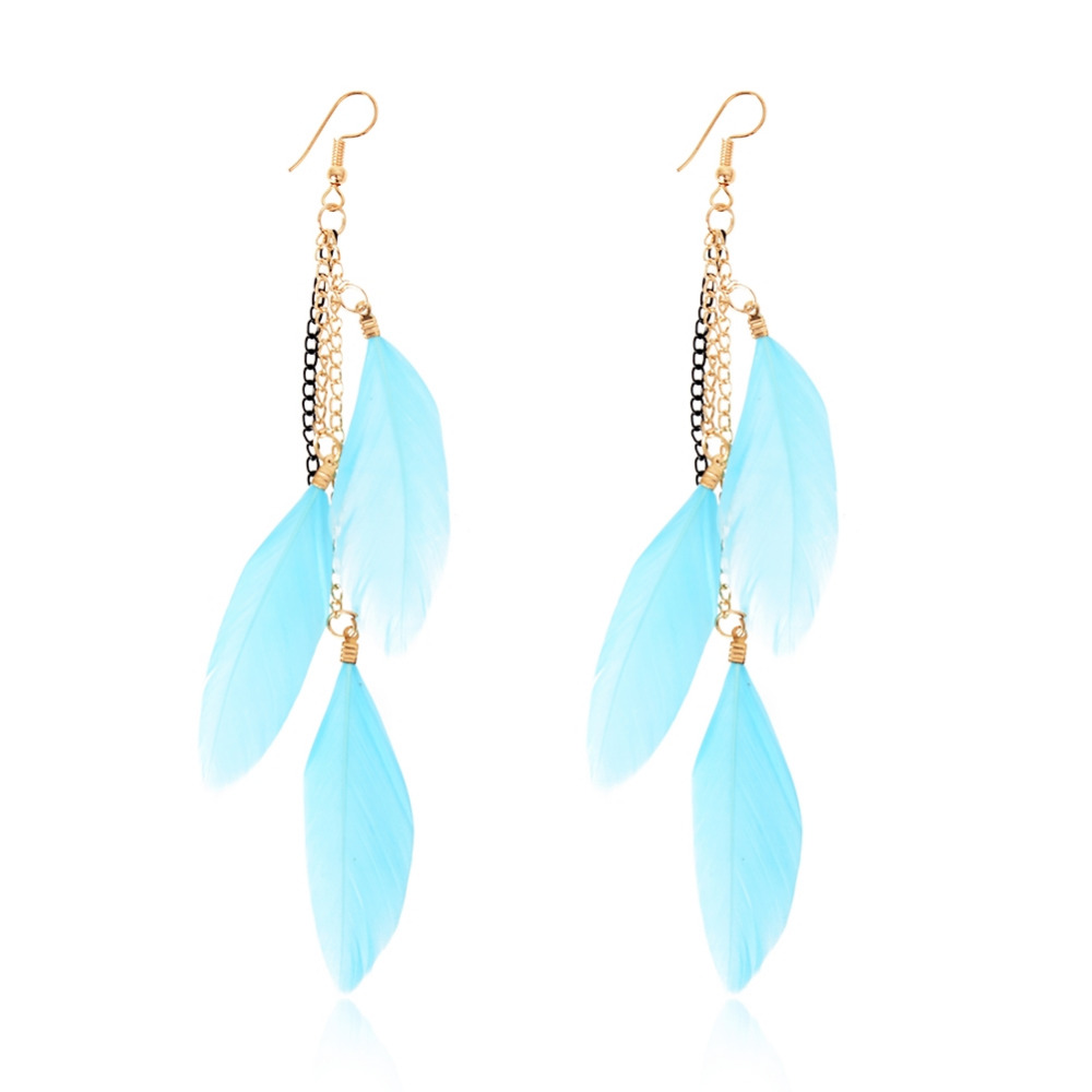 2017 New 1Pair Fashion Women Handmade Jewelry Hook Drop Dangle Goose Feather Earrings Party