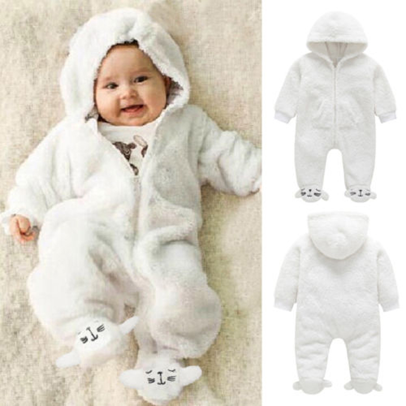 Pudcoco Newborn Baby Boy Girl   Romper   Fuzzy Hooded Jumpsuit Winter Outfits Clothes
