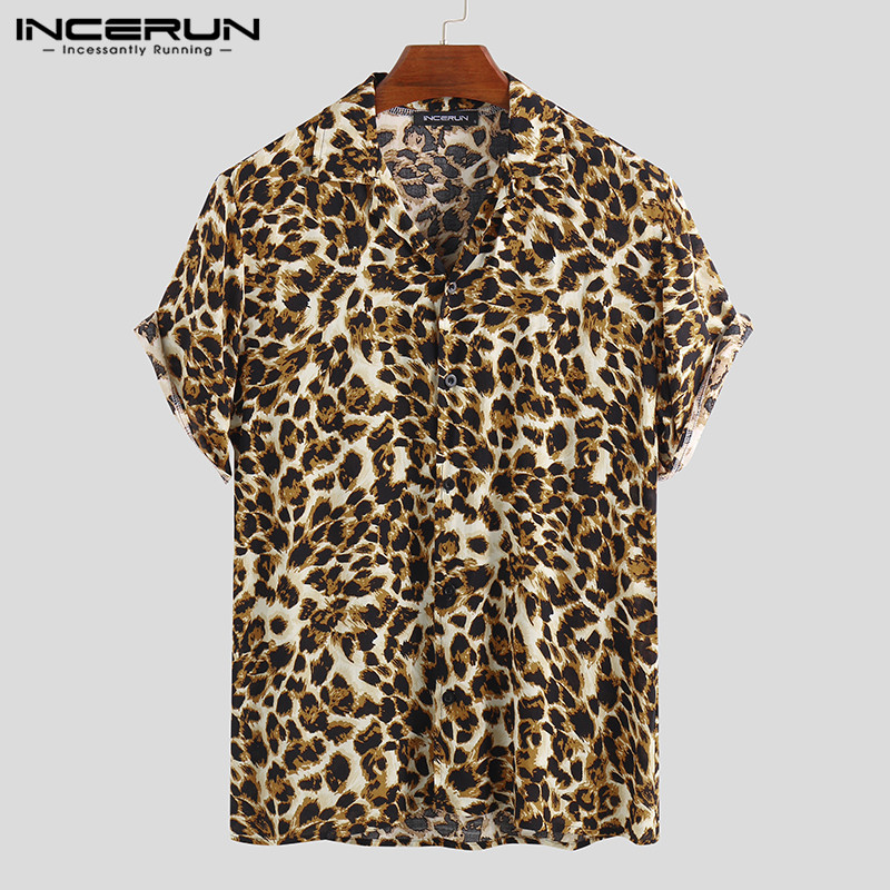 Summer Short Sleeve Leopard Print Shirt Men Lapel Neck Loose Button Up Blouse Breathable Streetwear Sexy Shirts Men INCERUN 2021 3