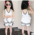 children clothing sets,2015  summer new arrival fashion girls white ( t-shirt +shorts) 2pcs set ,Openwork lace sleeveless