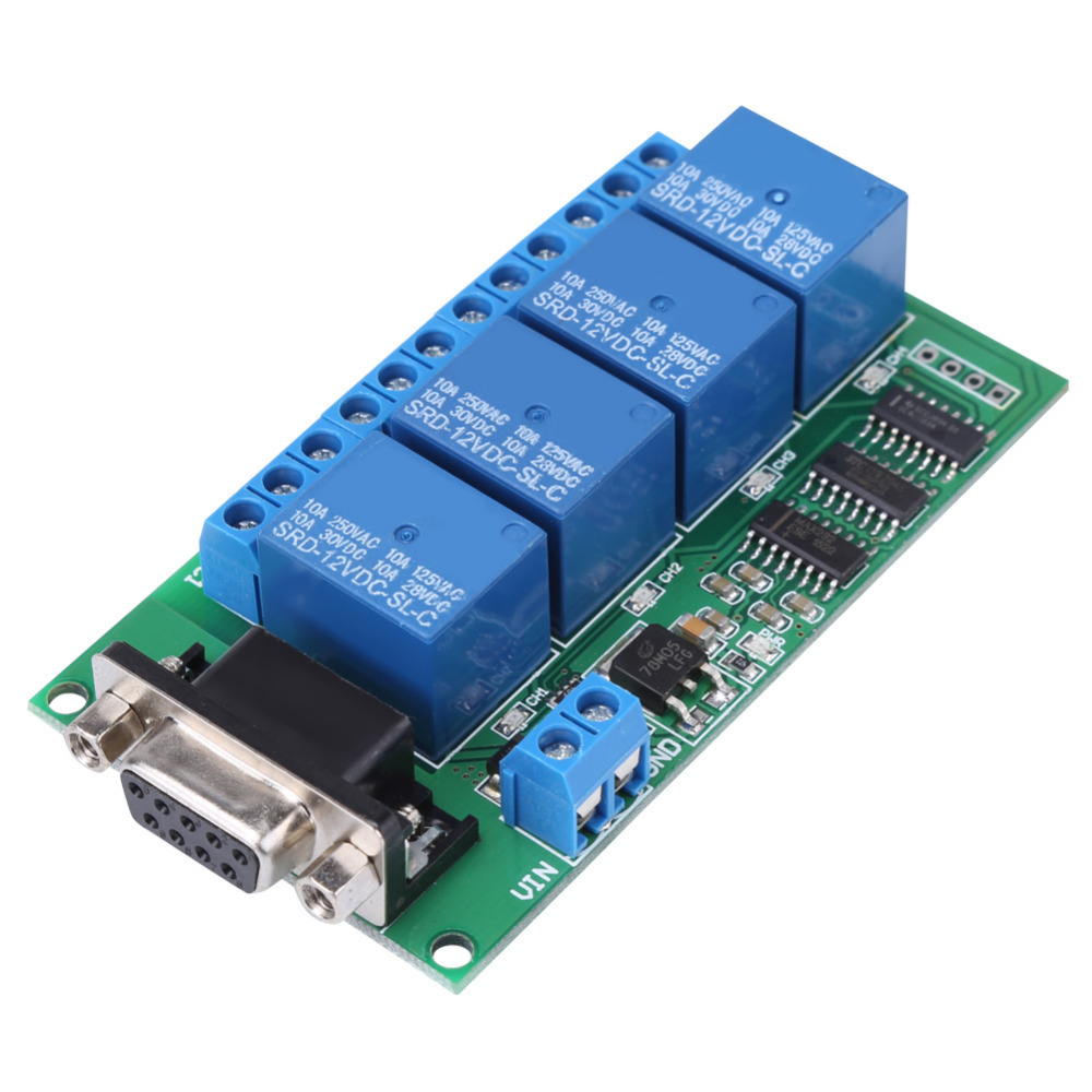 RS232 Relay 12V 4Ch DB9 RS232 Relay Board Remote Control UART Serial Port Switch for Car Motor esp 07 esp8266 uart serial to wifi wireless module