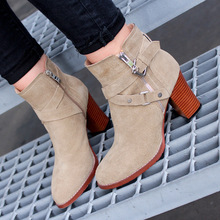 Autumn 2016 New Comfortable Stylish High Heels Cow Suede Knight Boots Belt Buckle Zipper Solid Color Round Toe Shoes Black Beige