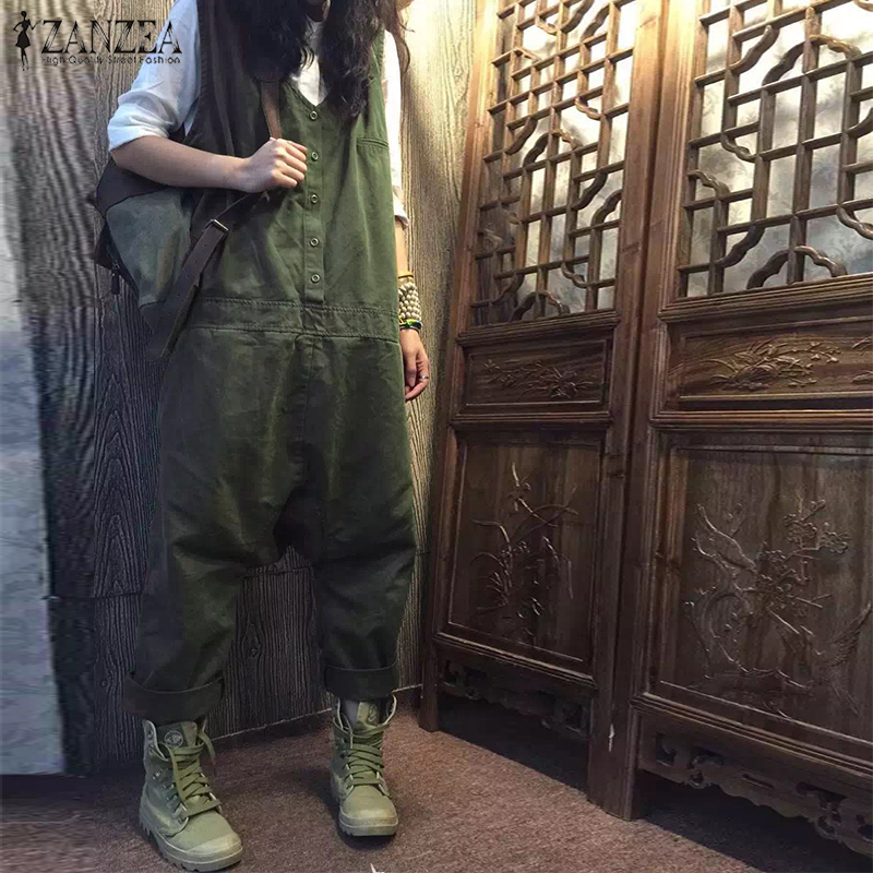 ab718a4ea8 Detail Feedback Questions about 2018 ZANZEA Linen Overalls For Women  Jumpsuits Female Sleeveless Casual Baggy Playsuits Drop Crotch Rompers  Woman Pantalon ...