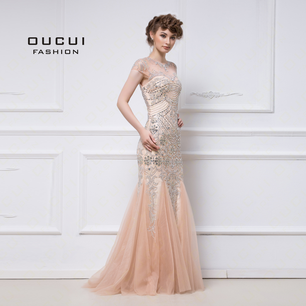 Real Photos Tulle Fabric Heavy Beading Hand Make Nude Color Puffy Skirt Long Evening Dress Gown OL102656