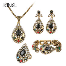Hot 4 Pcs Vintage Jewelry Sets For Women Antique Gold Color India Crystal Hollow Statement Necklace Bracelets Earrings Set(China)