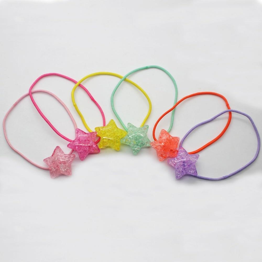 6 ks / lot elastické vlasy kapely pryskyřice crack pětibodová hvězda gumičky barevné scrunchies vlasové doplňky pro holčičky