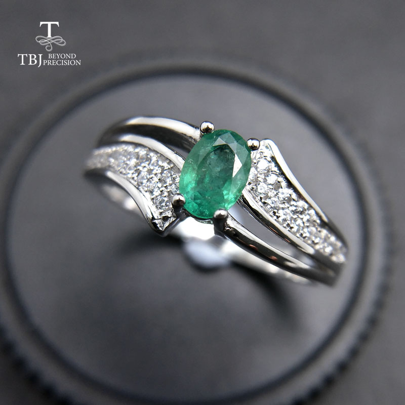 TBJ elegant and classic ring with 100 natural emerald ring in 925 sterling silver for women