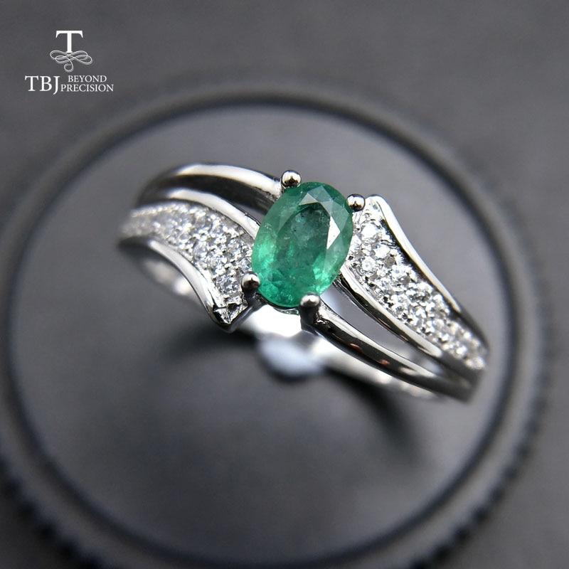 TBJ,, elegante en klassieke ring met 100% natuurlijke emerald ring in 925 sterling zilver voor vrouwen & lady als anniversary gift met doos-in Ringen van Sieraden & accessoires op  Groep 1