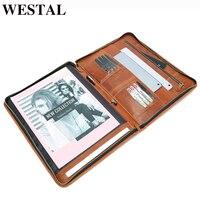 WESTAL Genuine Leather men A4 Document Bag Vintage wallet Envelope file folder portfilio card holder coin purse male cluth bag