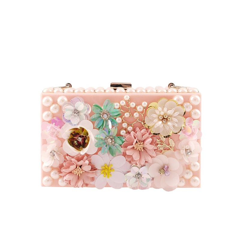Acrylic Clutch Evening Bag pink Diamond flowers Party Purse Women Wedding Bridal Phone Handbag Pouch Pearl chain messenger bag solid white acrylic women evening purse bridal striped handbags wedding party prom clutch bag long chain shoulder crossbody bag