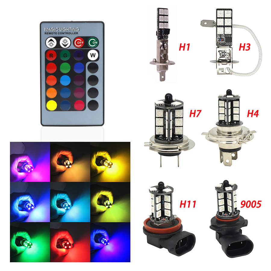 2pcs H1 H3 H4 9005 9006 H11 H7 RGB LED Auto Car Headlight 5050 LED 27SMD Strobe Led Fog Light Head Lamp Bulb With Remote Control