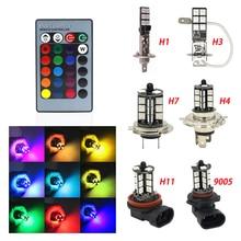 2 pcs H1 H3 H4 9005 9006 H11 H7 RGB LED Tự Động Xe Đèn Pha 5050 LED 27SMD Nhấp Nháy Led Sương Mù ánh sáng Đầu Đèn Bóng Đèn Với Điều Khiển Từ Xa