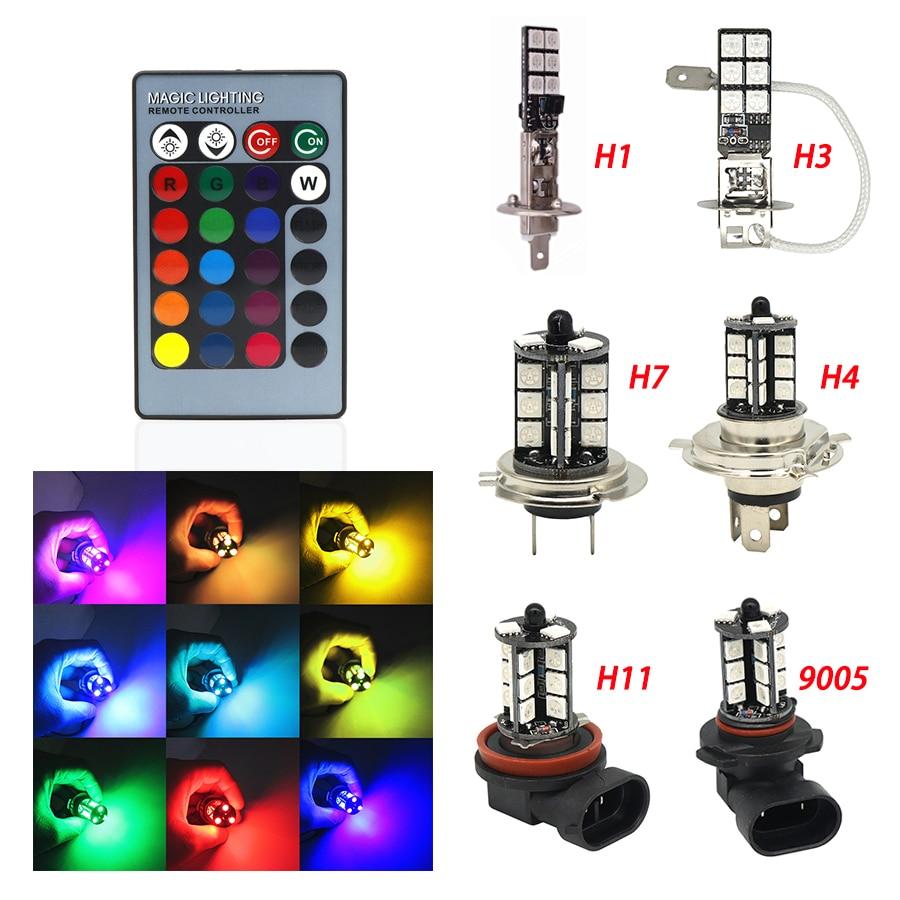 2pcs H1 H3 H4 9005 9006 H11 H7 RGB LED Auto Car Headlight 5050 LED 27SMD Strobe Led Fog Light Head Lamp Bulb With Remote Control