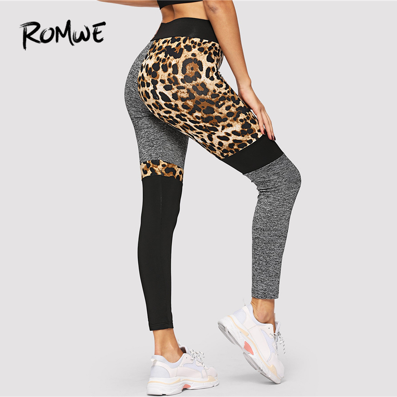 ROMWE Color-Block Leopard Print   Leggings   2019 Great Women Chic Sexy Basic   Legging   Female Bonny Fitness Skinny   Leggings