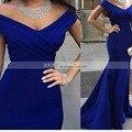 Custom Made Cap Рукавом Сексуальная Royal Blue Lace Короткие Мода V шея Бальные Платья 2017 Длинные Русалка Вечернее Платье Платье лонго 576