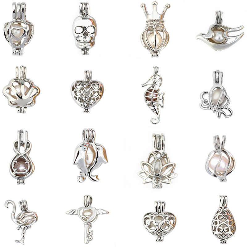 """Серебряная капля жемчужина клетка ювелирных изделий Cage медальон """"кулон эфирное масло диффузор медальон для Жемчужница Для женщин Для мужчин"""