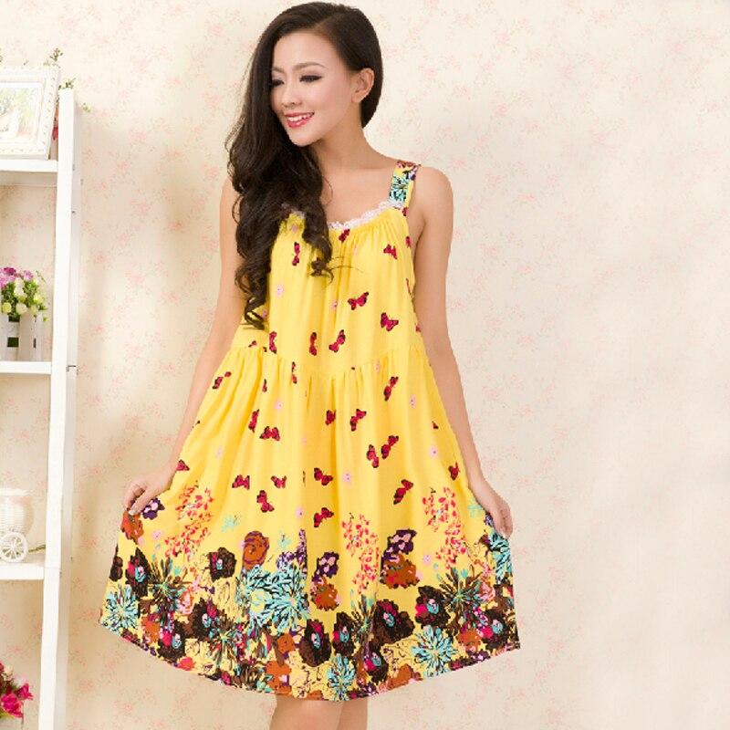 Femmes Coton Chemise de Nuit Floral Sommeil Robe Sans Manches Chemise De Sommeil Mode Chemise De Nuit Sexy Nightwear Casual Home Dress