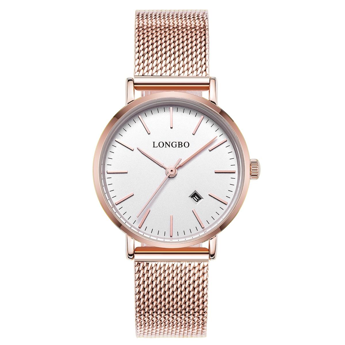 LONGBO Luxury Lovers Watches Men Women Automatical Calendar Mesh Stainless Steel Adjustable Band Quartz Watch Montre Homme 5009