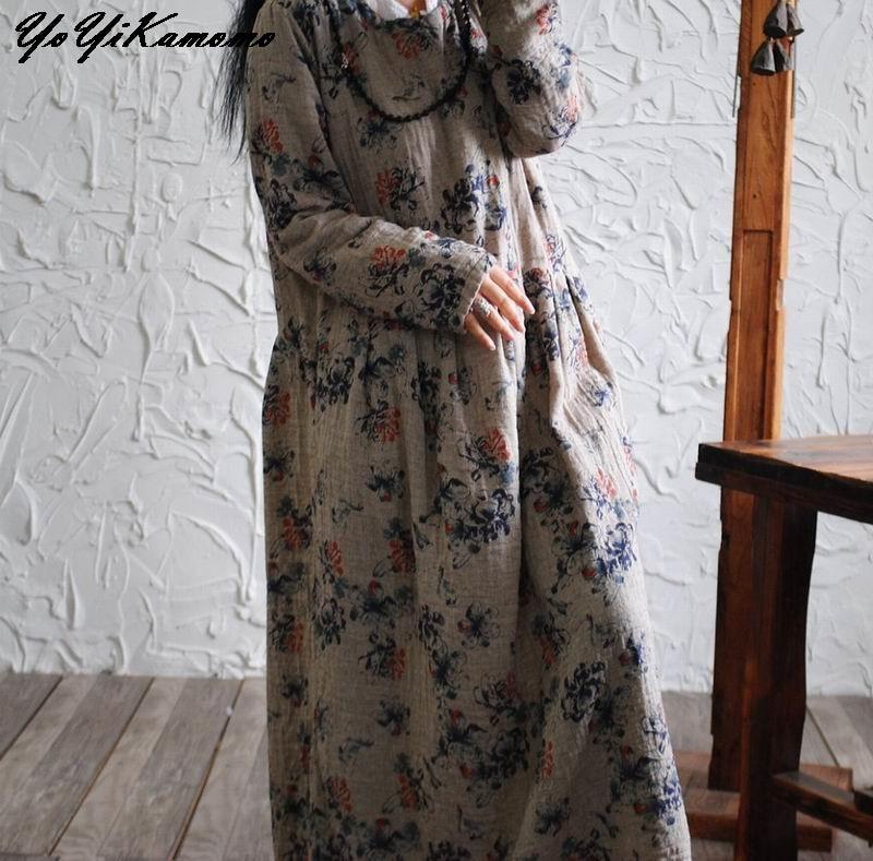 Yoyikamomo 2017女性の綿リネンドレスオリジナル花綿ロングドレスヴィンテージロングスリーブ緩い大きなサイズドレス女性  グループ上の レディース衣服 からの ドレス の中 2
