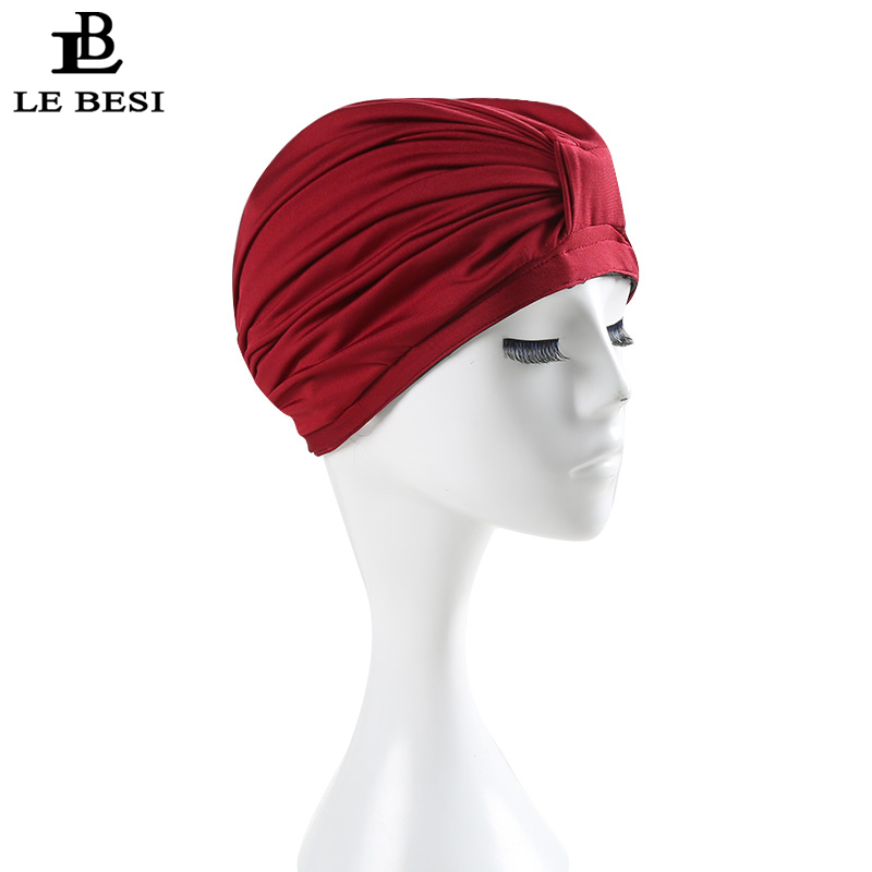 LE BESI 2017 New Women Swimming Cap Waterproof PU Elastic Swim Cap Pleated knot Beach Cap Bathing Swimming Hat