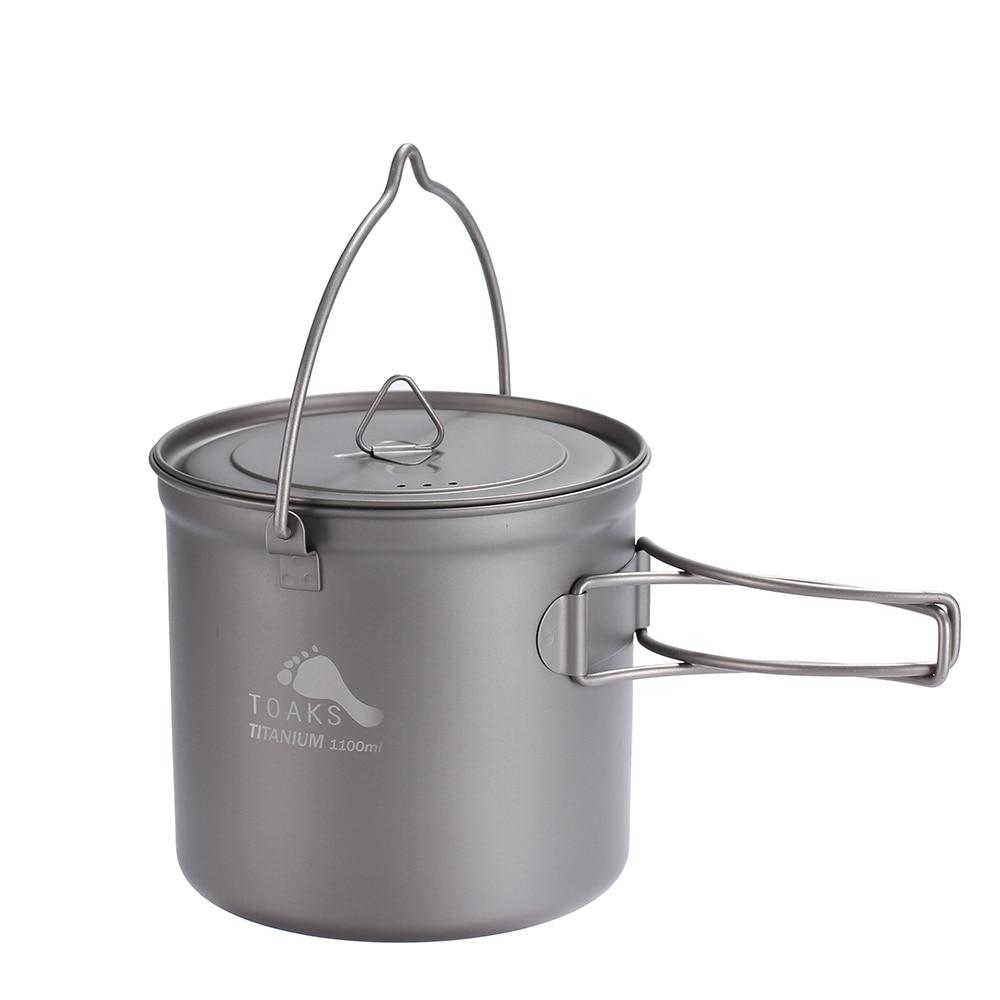 TOAKS Outdoor Hang Pot Camping Hiking Ti Titanium Cookware Picnic Hang Pot Ultralight Pot 1100ml Pot