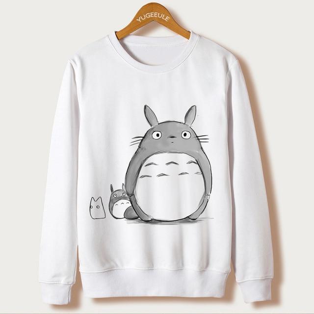 Totoro Cartoon Print Hoodies Women Clothes Winter 2017 Sweatshirt Harajuku kawaii Japanese Full Sleeve White O-neck Cute Moletom