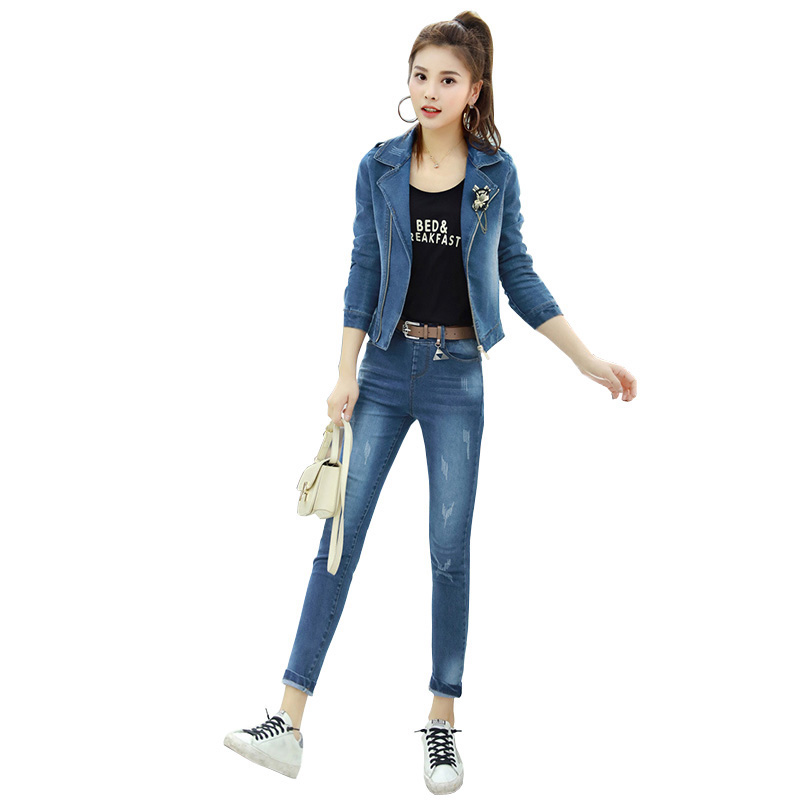 2018 New Spring Womens Denim Suits Long Sleeve Jeans Jacket With Corsage+Denim Pants Sets Female Casual Two Piece Trousers Set 2016 spring new girls sets long sleeved denim jacket with striped lace dress two piece nice quality children clothing set a396