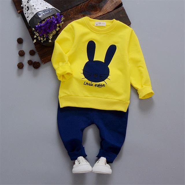 Bebés que arropan la ropa de bebé recién nacido de algodón de manga larga tops + pants 2 unids/set embroma la ropa niñas trajes chándal