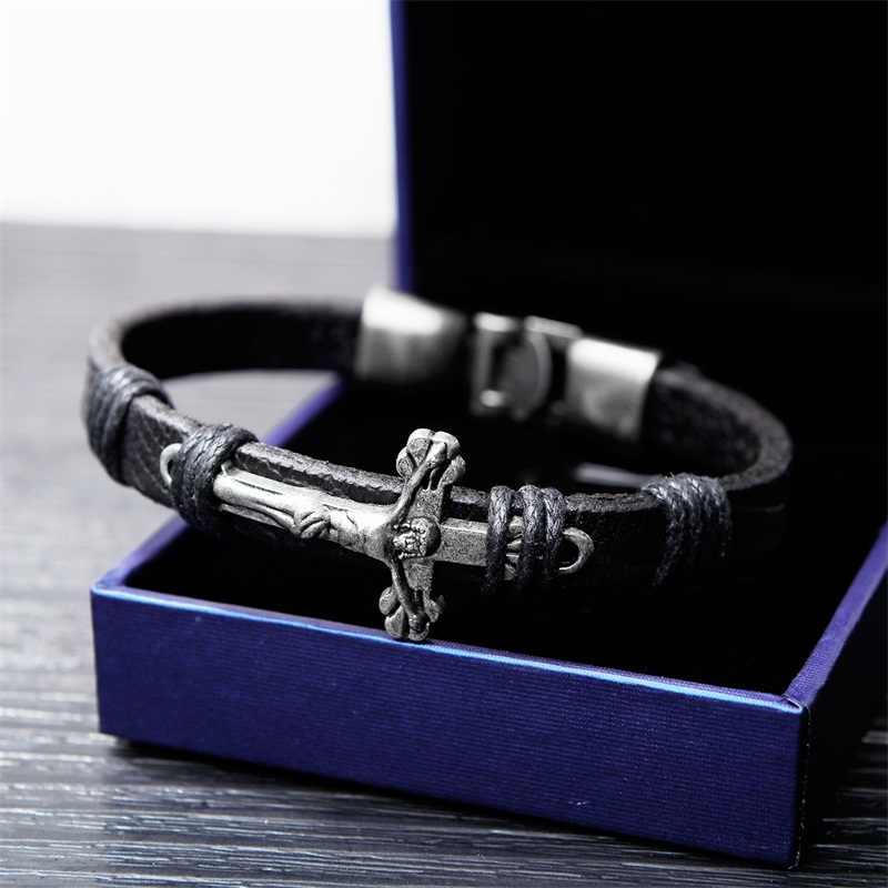 AZIZ BEKKAOUI w stylu Vintage krzyż biżuteria bransoletka męska ze stali nierdzewnej krucyfiks jezus skórzane bransoletki prezent na Boże Narodzenie Dropshipping