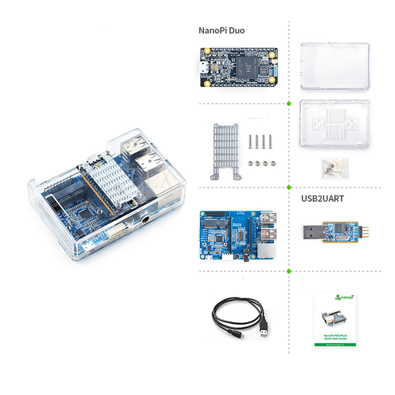 цена NanoPi Duo Starter Kit include NanoPi Duo/Acrylic Case/Mini Shield for NanoPi Duo/Heatsink/USB Cable/USB2UART Debug Cable