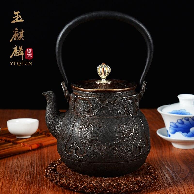 Kitchen Kettle Village Coupons: 1L Uncoated Cast Iron Handicrafts Auspicious Teapot Kung