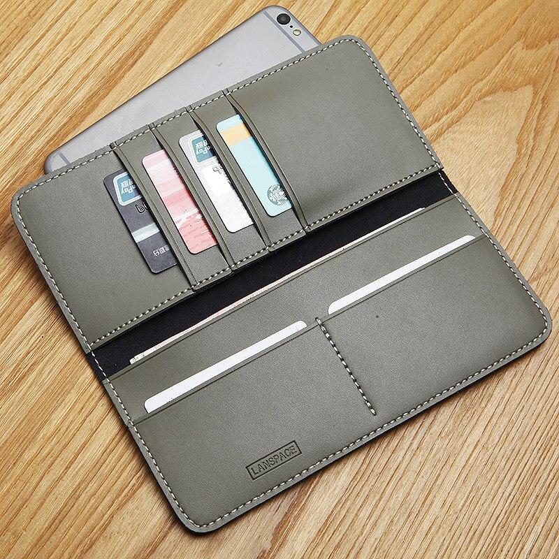 LANSPACE bolso de cuero hecho a mano sin forro hombre billeteras monederos monederos de moda