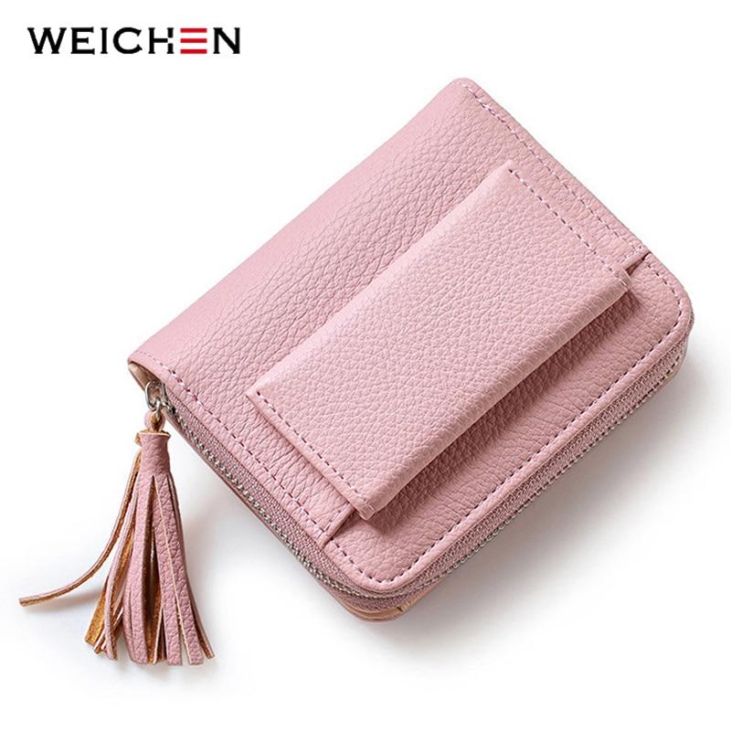 WEICHEN Tassel Design Dámské peněženky se zipem Mincovní kapesní držák Dámské peněženky Krátké značky Designer Women Wallet Hot