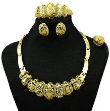 Chapado en oro pendiente colgante sistemas de la joyería nuevo diseño para las mujeres africanas collar joyería de la boda