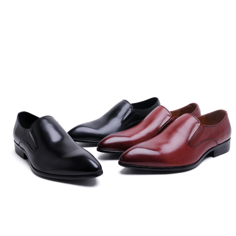 2017 Men's Leather Shoes Genuine Leather Slip On Dress Shoes Basic Style Pointed Toe Wedding Office Party Shoes EU37-44 2Colors 2017 men s cow leather shoes patent leather dress office wedding party shoes basic style pointed toe lace up eu38 44 size