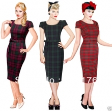 Free Shipping Retro 40s 50s Tartan Vintage Pencil Wiggle Dress Rockabilly Pin Up Dress