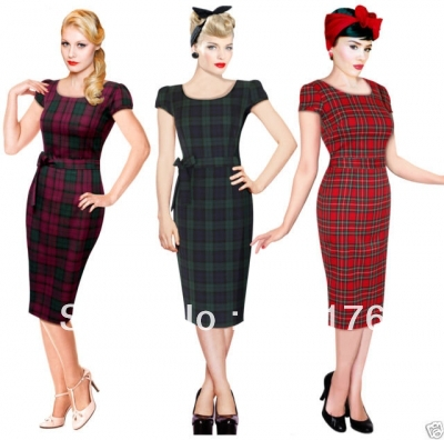Free Shipping Retro 40s 50s font b Tartan b font Vintage Pencil Wiggle Dress Rockabilly Pin