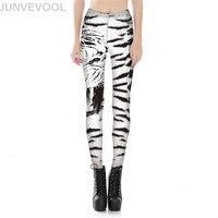 Vogue Blanc Tigre Numérique Imprimé Femmes Leggings Moulante Mince Mode Penil Pantalon Dames Patchwork Élégant Maigre Vêtements Pantalon