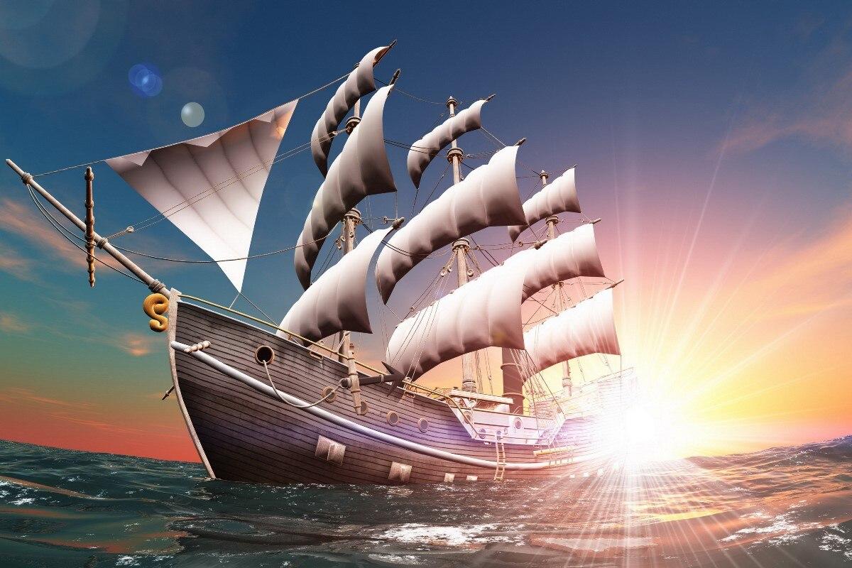 Grafik rendering landschaft schönheit mast segel schiff sunrise ...