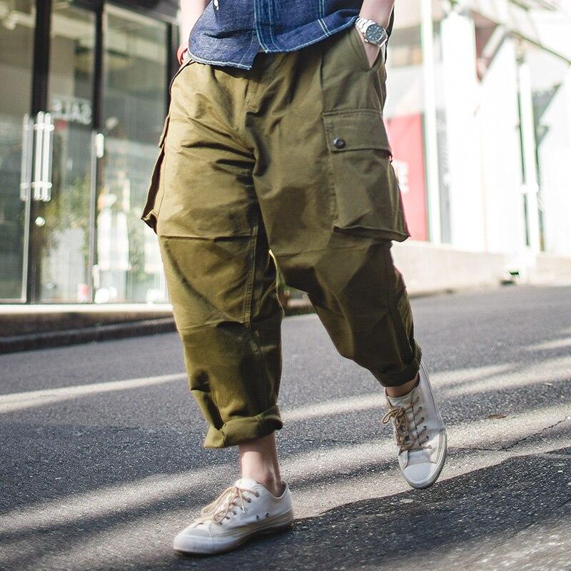 MADEN Mens Baggy Harem Pants Drop Crotch Cargo Pants Multi Pocket Green Khaki