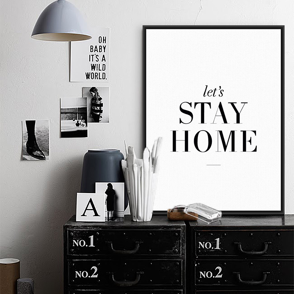 Modern minimalist black white typography quotes a4 print for Black and white mural prints