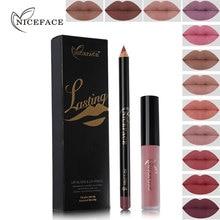 NICEFACE Brand 12 Color Lasting Matte Liquid Lip Gloss+Nude Pencil Makeup Lipstick Set Ultra Waterproof Natural Velvet Lips