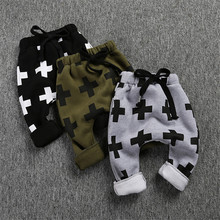 Boys Pants Cross Print Children Winter Warm thickening Harem Pants For Girls Boy Cotton Pants Baby Toddler Trousers Clothing