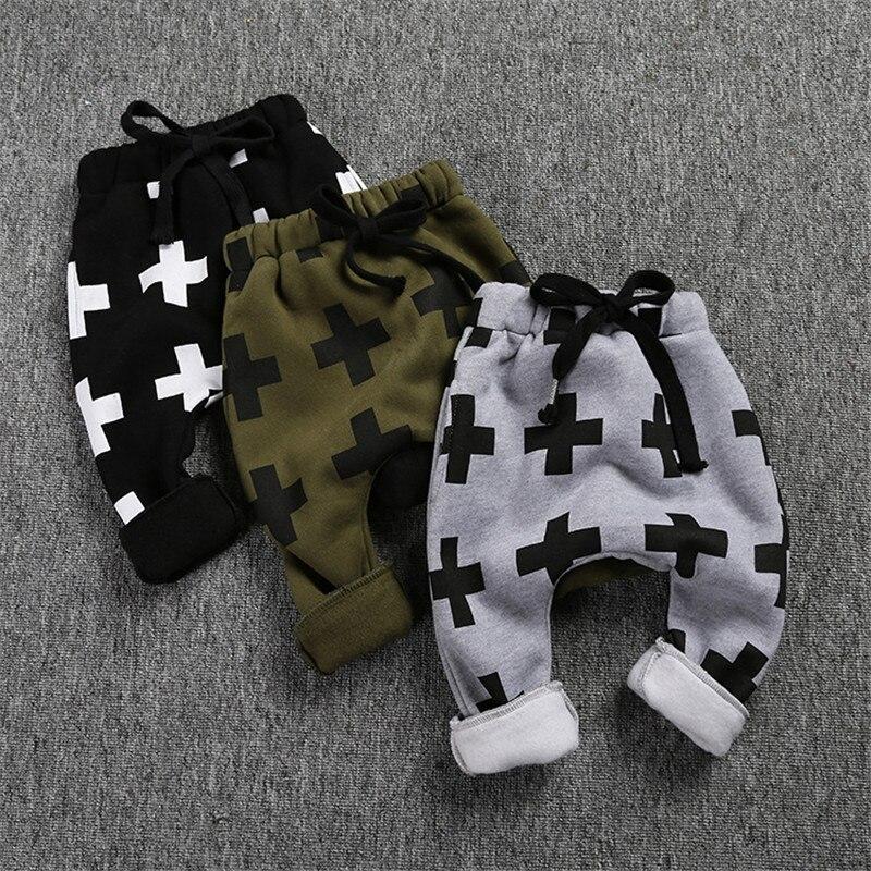 Zēniem Bikses Cross Print Bērniem Ziemā siltas sabiezējošas harēma bikses meitenēm Zēnam Kokvilnas bikses Zīdaiņa bikli Bikses