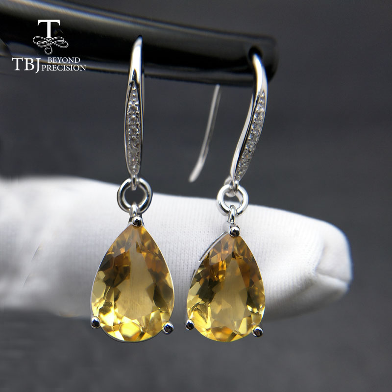 цена на TBJ,Water Drop 5ct Genuine Brazil citrine gemstone Dangle hook Earrings Pure 925 Sterling Silver Fine Jewelry For Women