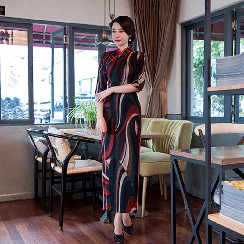 2017 Vintage font b Women s b font Cotton Long Cheongsam font b Fashion b font