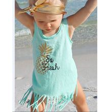 Toddler Kid Baby Girl Floral Sleeveless Tassel Tops T-Shirt Summer Fashion