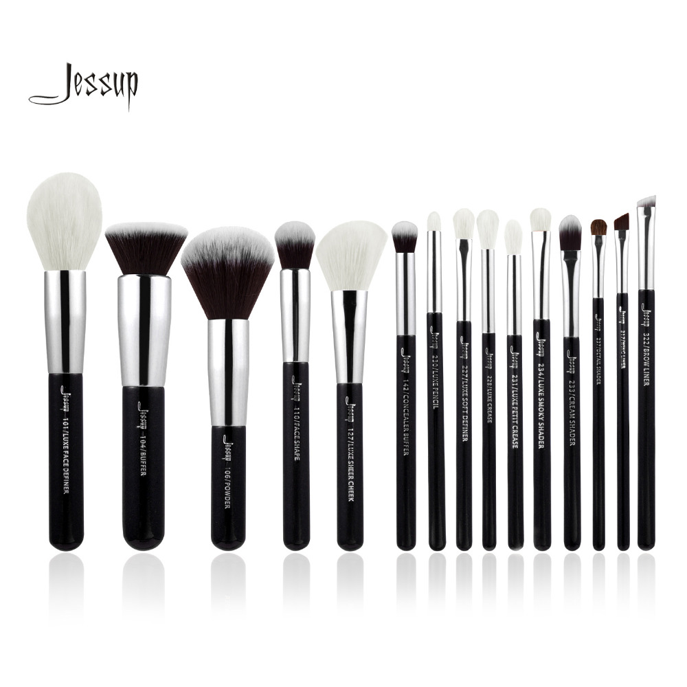 Jessup Brand Black/Silver Professional Makeup Brushes Set Beauty Tools Make up Brush kit Foundation Powder Definer Shader Liner 2017 jessup brushes 5pcs black silver beauty kabuki makeup brushes set foundation powder blush makeup brush cosmetics tools t063